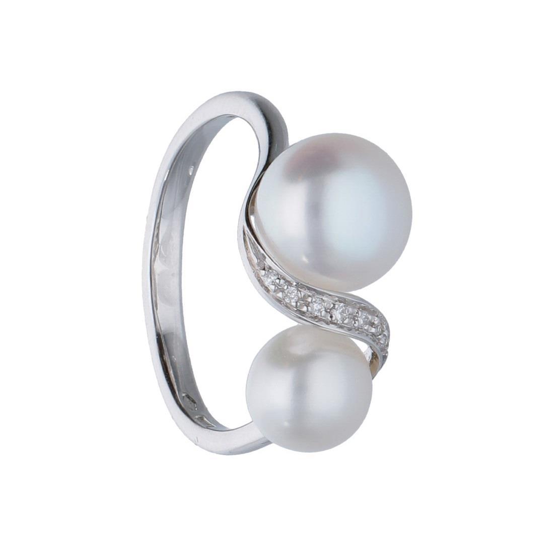 Anello design in oro bianco con diamanti ct 0.03 e perle  mis 15 - BLISS
