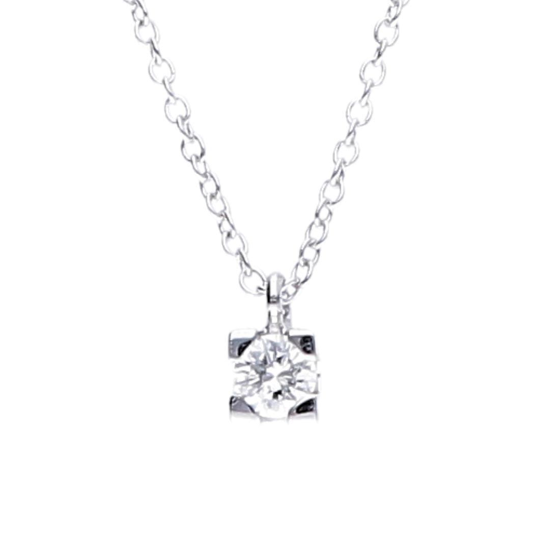 Collier Oro&Co in oro bianco, punto luce con diamante ct 0,20 - ORO&CO