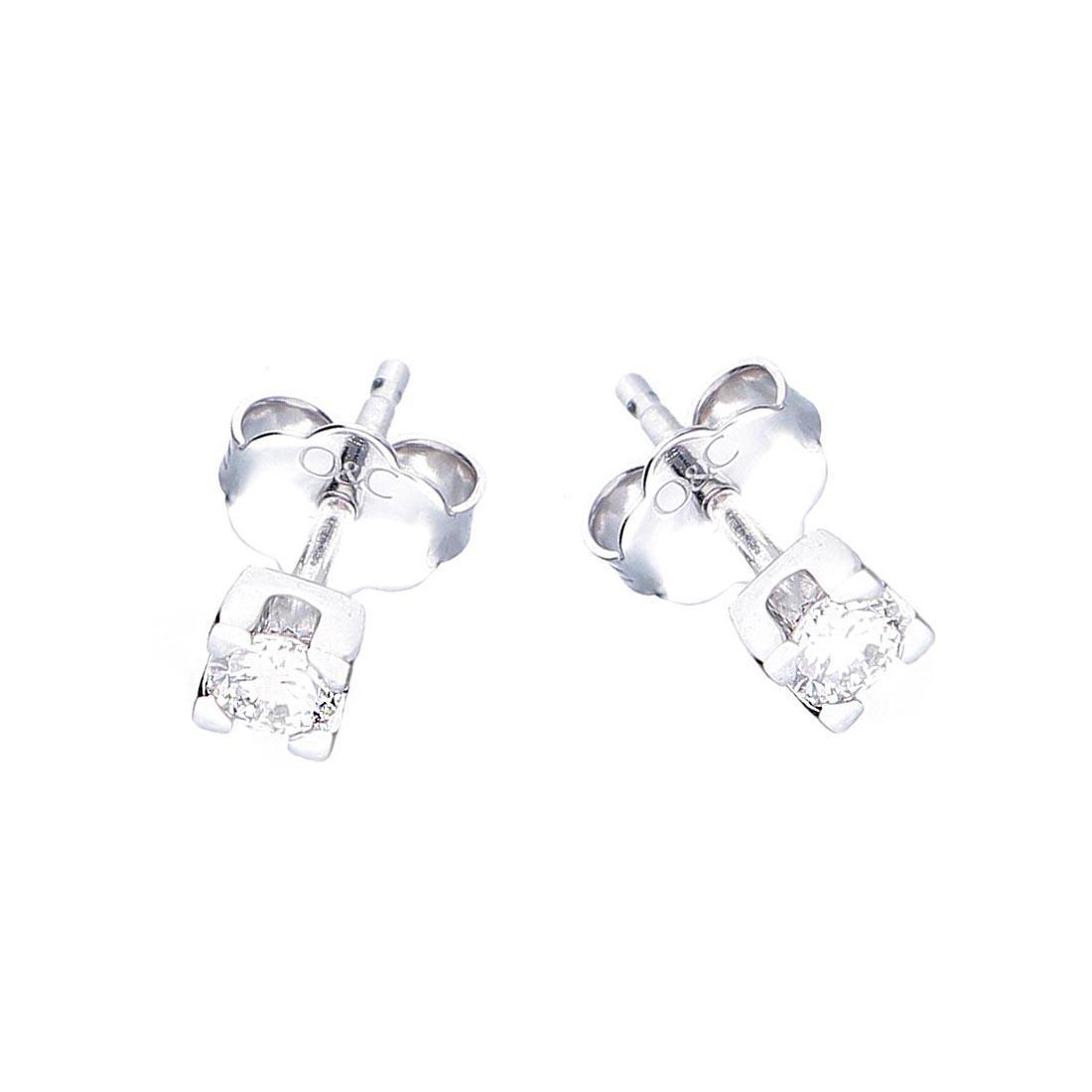 Orecchini Oro&Co in oro bianco, punto luce con diamante ct 0,27 - ORO&CO