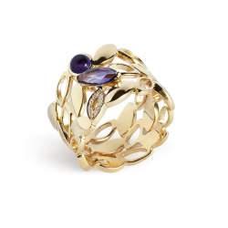 Anello in oro giallo con ametista e diamanti  - ALFIERI & ST. JOHN
