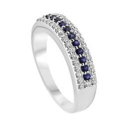 Anello veretta in oro bianco con diamanti e zaffiri mis 14 - ALFIERI ST JOHN