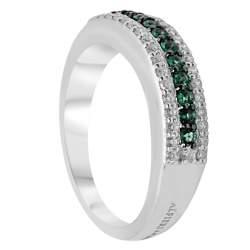 Anello veretta in oro bianco con diamanti e smeraldi, mis 13 - ALFIERI ST JOHN