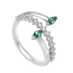 Anello in oro bianco con diamanti ct 0.36 e smeraldi ct 0.23 misura 13 - ORO&CO