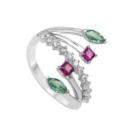 Anello Oro & Co in oro bianco con diamanti ct 0.31 rubini ct 0.42 e smeraldi 0.34 misura 13 - ORO&CO
