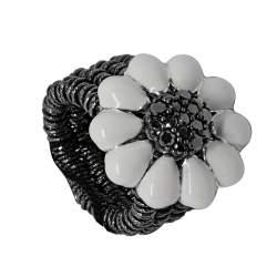Anello semirigido in argento con diamanti neri 0.53 ct, misura 10-14 - ROBERTO DEMEGLIO