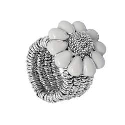 Anello semirigido in argento con diamante  0.01 ct, misura regolabile (15/17) - ROBERTO DEMEGLIO
