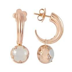 Orecchini in oro rosa con diamanti ct 0.12 e pietra - PASQUALE BRUNI