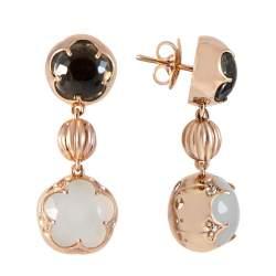 Orecchini in oro rosa con diamanti ct 0.12 e pietre - PASQUALE BRUNI