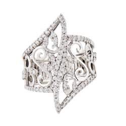 Anello in oro bianco con diamanti mis 14 - ALFIERI & ST. JOHN