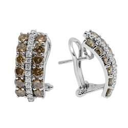 Orecchini in oro bianco fantasy con diamanti e pietre semipreziose - ALFIERI & ST. JOHN