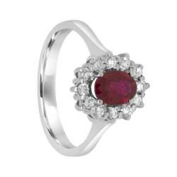 Anello in oro bianco con rubino e diamanti, misura 14 - ORO&CO