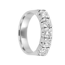 Anello 5 pietre in oro bianco con diamanti ct 1.25, misura 14 - ORO&CO