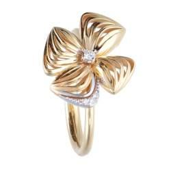 Anello in oro giallo design fiore con diamanti - ALFIERI & ST. JOHN