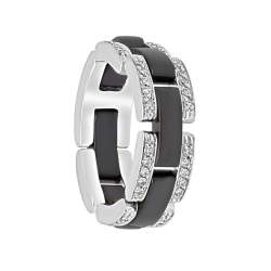 Anello in oro bianco con diamanti e ceramica nera mis 17 - ORO&CO