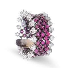Anello con diamanti e rubini - ALFIERI & ST. JOHN