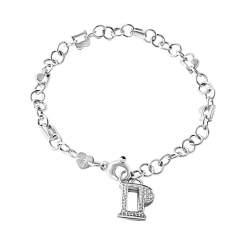 Bracciale i in oro bianco con charms e diamanti ct 0.33 , zaffiri ct 0.06 - PASQUALE BRUNI