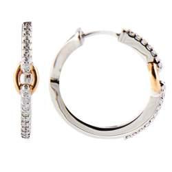 Orecchini in oro bianco e rosa con diamanti taglio brillante 0,42 carati - DAMIANI