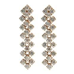Orecchini 3 file in oro bianco con diamanti ct 1.95 misura 6.00cm - ALFIERI ST JOHN