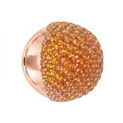 Anello fascia in oro rosa con topazio arancione - ROBERTO DEMEGLIO