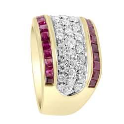 Anello in oro giallo con diamanti e rubini mis 10 - ALFIERI ST JOHN