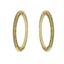 Orecchini a cerchio in oro rosso con diamanti - PASQUALE BRUNI