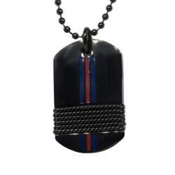 Collana in acciaio nero con targhetta  - TOMMY HILFIGER