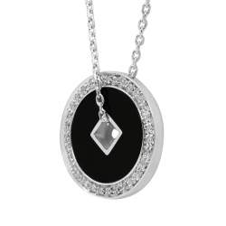 Collier in oro bianco, pendente con diamanti e onice - SALVINI