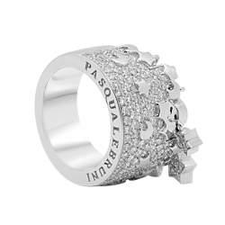 anello in oro bianco con diamanti e charms  - PASQUALE BRUNI