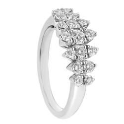 Anello veretta in oro bianco con diamanti mis 14 - ALFIERI ST JOHN