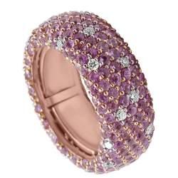 Anello a fascia in oro rosa con diamanti e zaffiri - ORO&CO