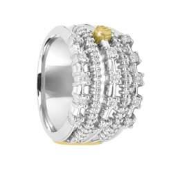 Anello in oro bianco e giallo con diamanti - DAMIANI