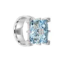 Anello in oro bianco con diamanti ct 0.16 e acquamarina - SALVINI