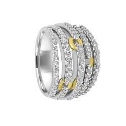 Anello Damiani in oro bianco e oro giallo con diamanti ct 1,04 - DAMIANI
