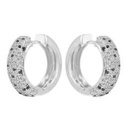 Orecchini in oro bianco con diamanti bianchi e neri ct 1.04 - SALVINI
