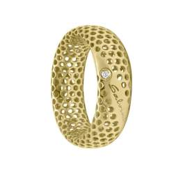 Anello in oro giallo 9 kt con diamante ct 0.01, misura 16 - SALVINI