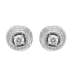 Orecchini punto luce in oro bianco con diamanti ct 0.40 - SALVINI