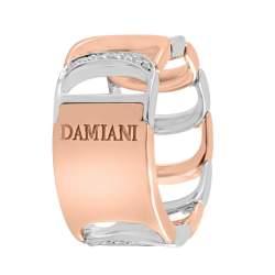 Anello design in oro bianco e oro rosa con diamanti ct 0.17 mis 18 - DAMIANI