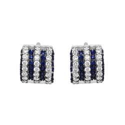 Orecchini in oro bianco con diamanti bianchi e zaffiri - SALVINI