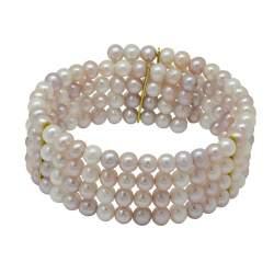 Bracciale Rivik con perle bianche, avorio e rosa. - RIVIK