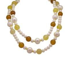Collana lunga con perle e pietre semipreziose - RIVIK