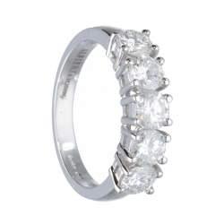 Anello riviere 5 pietre in oro bianco con diamanti 1.29 ct mis 13 - ALFIERI & ST. JOHN