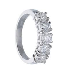 Anello riviére 5 pietre in oro bianco con diamanti mis 13.5 - ALFIERI & ST. JOHN