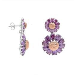 Orecchini design in argento con zirconi viola - ROBERTO DEMEGLIO