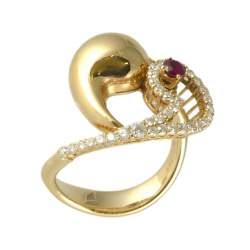 Anello in oro rosa e diamanti ct 0.13 con rubino ct 0.43, misura 15  - ROBERTO DEMEGLIO